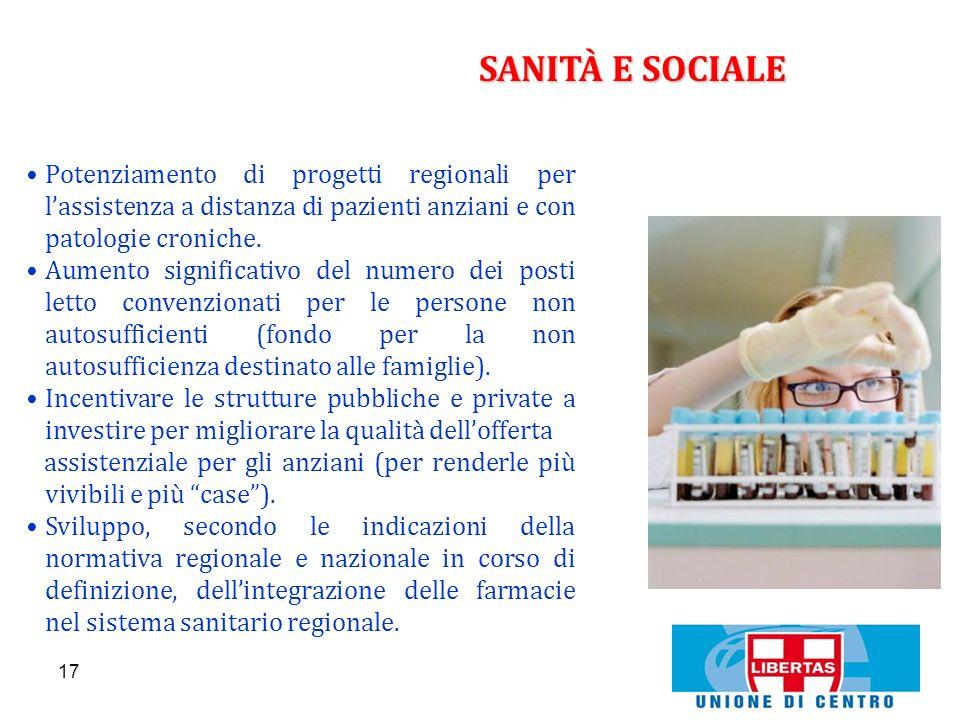 SANITÀ E SOCIALEPotenziamento di progetti regionali per l'assistenza a distanza di pazienti anziani e con patologie croniche.
