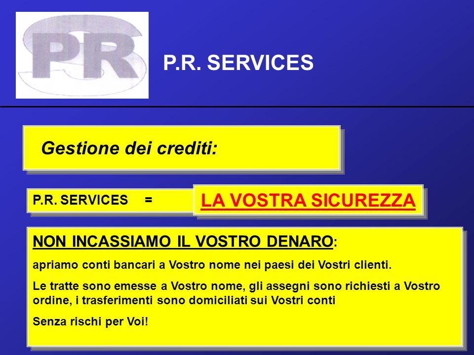 P.R. SERVICES Gestione dei crediti: LA VOSTRA SICUREZZA