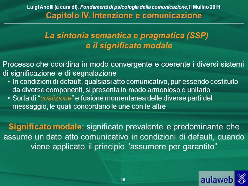 La sintonia semantica e pragmatica (SSP) e il significato modale