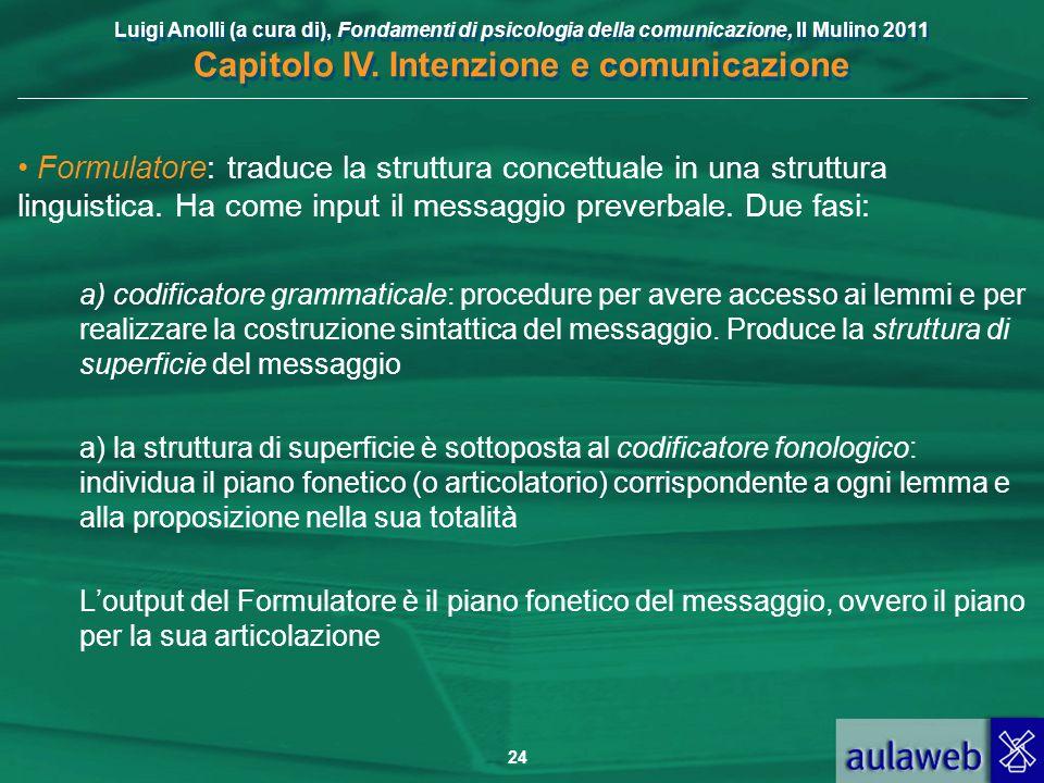 Formulatore: traduce la struttura concettuale in una struttura linguistica. Ha come input il messaggio preverbale. Due fasi: