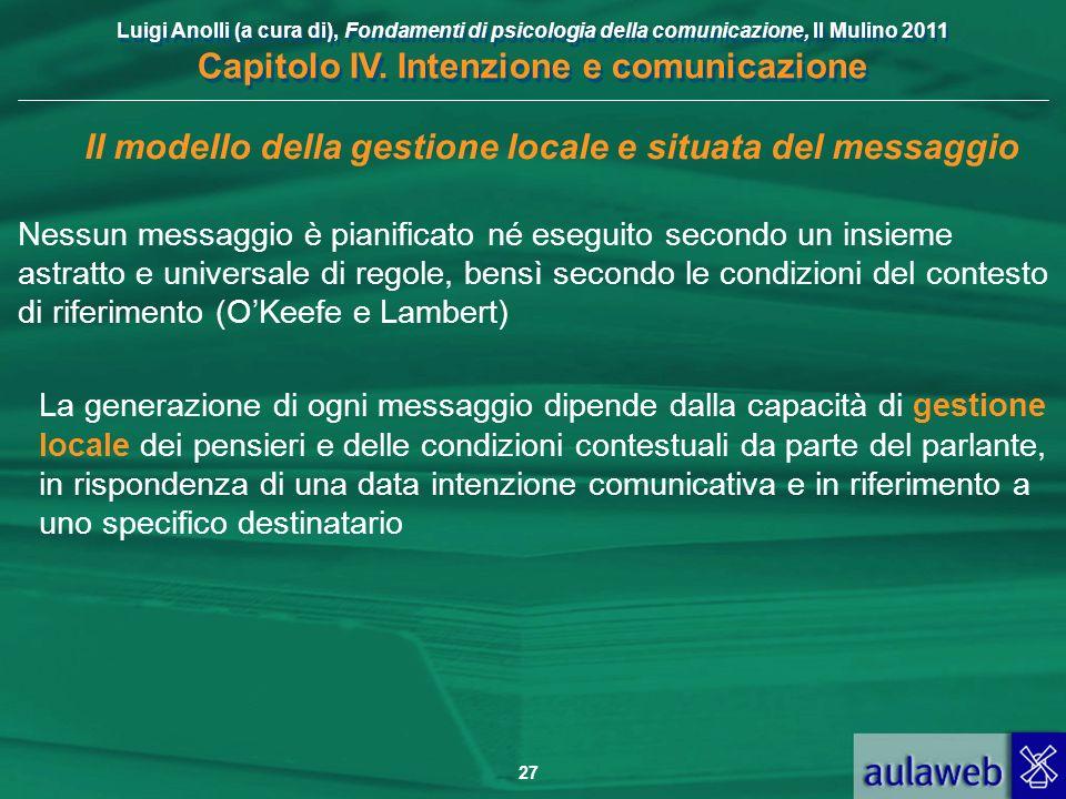 Il modello della gestione locale e situata del messaggio