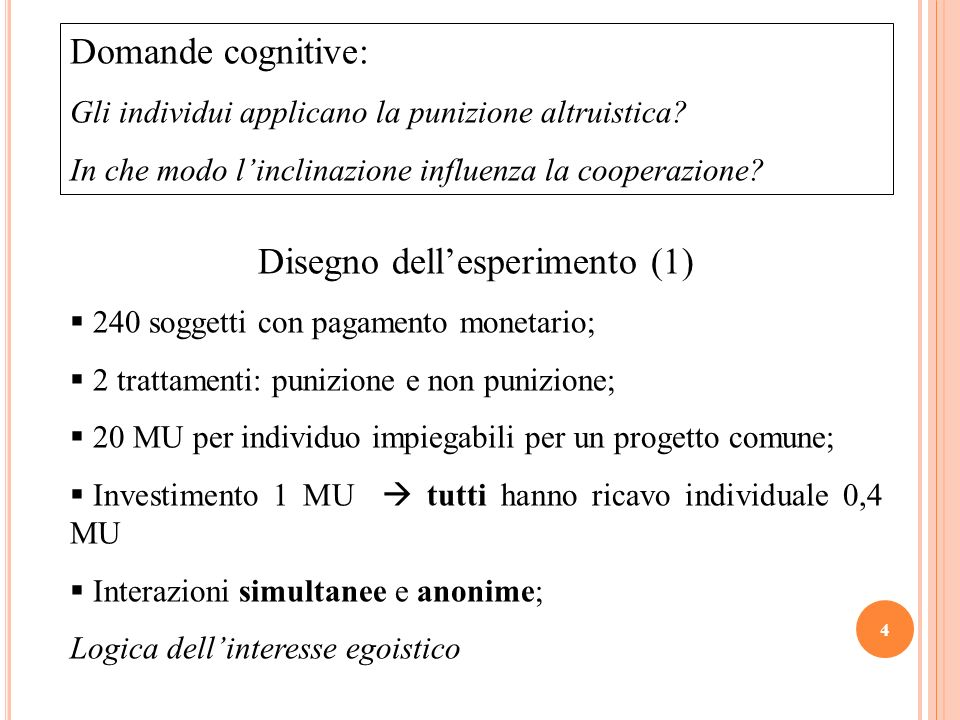 Disegno dell'esperimento (1)