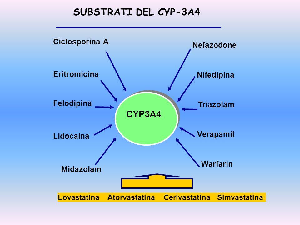 SUBSTRATI DEL CYP-3A4 CYP3A4 Ciclosporina A Nefazodone Eritromicina