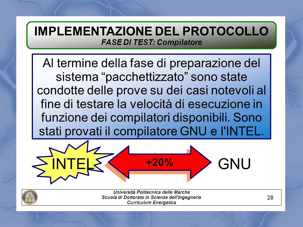 IMPLEMENTAZIONE DEL PROTOCOLLO FASE DI TEST: Compilatore