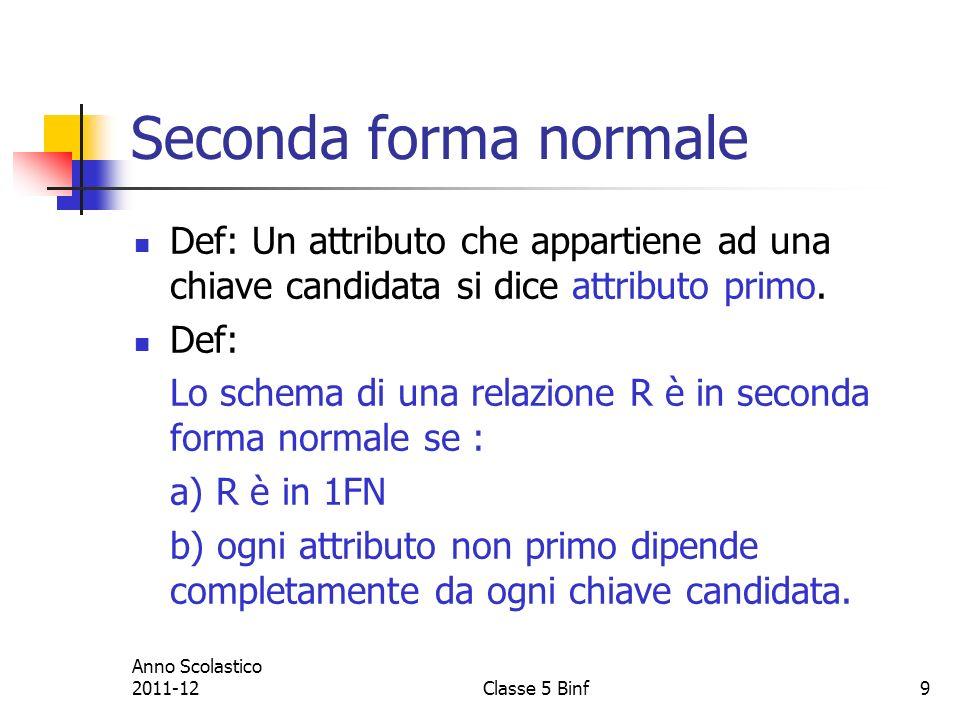 Seconda forma normale Def: Un attributo che appartiene ad una chiave candidata si dice attributo primo.