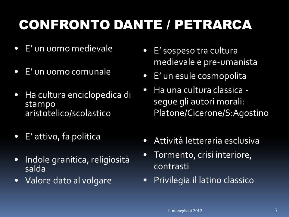 CONFRONTO DANTE / PETRARCA