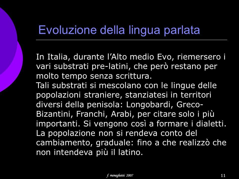 Evoluzione della lingua parlata