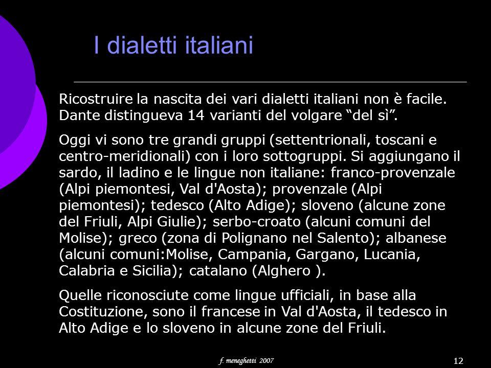 I dialetti italiani Ricostruire la nascita dei vari dialetti italiani non è facile. Dante distingueva 14 varianti del volgare del sì .