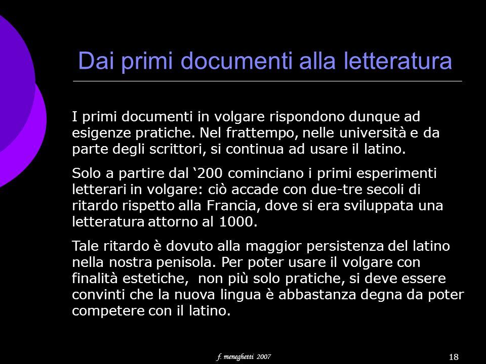 Dai primi documenti alla letteratura