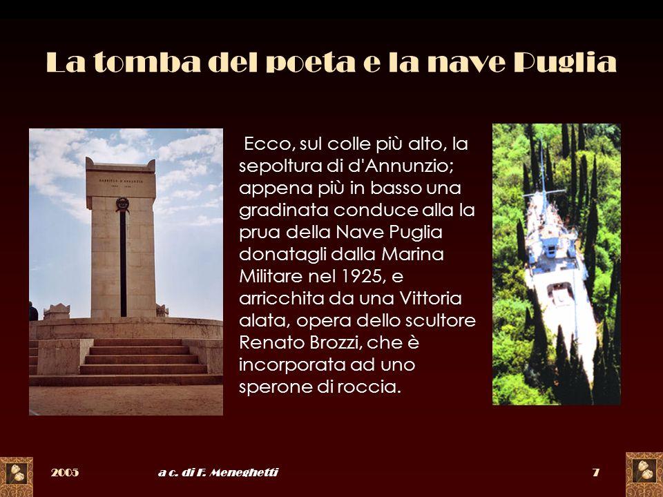 La tomba del poeta e la nave Puglia