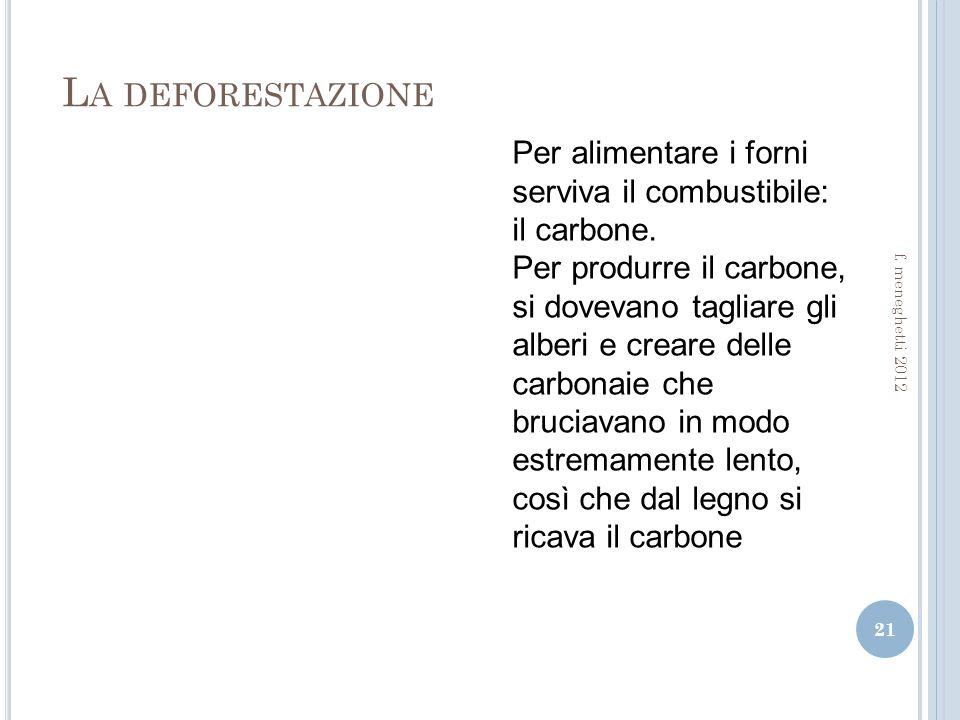 La deforestazione Per alimentare i forni serviva il combustibile: il carbone.