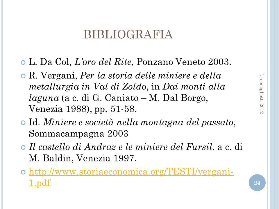 BIBLIOGRAFIA L. Da Col, L'oro del Rite, Ponzano Veneto 2003.
