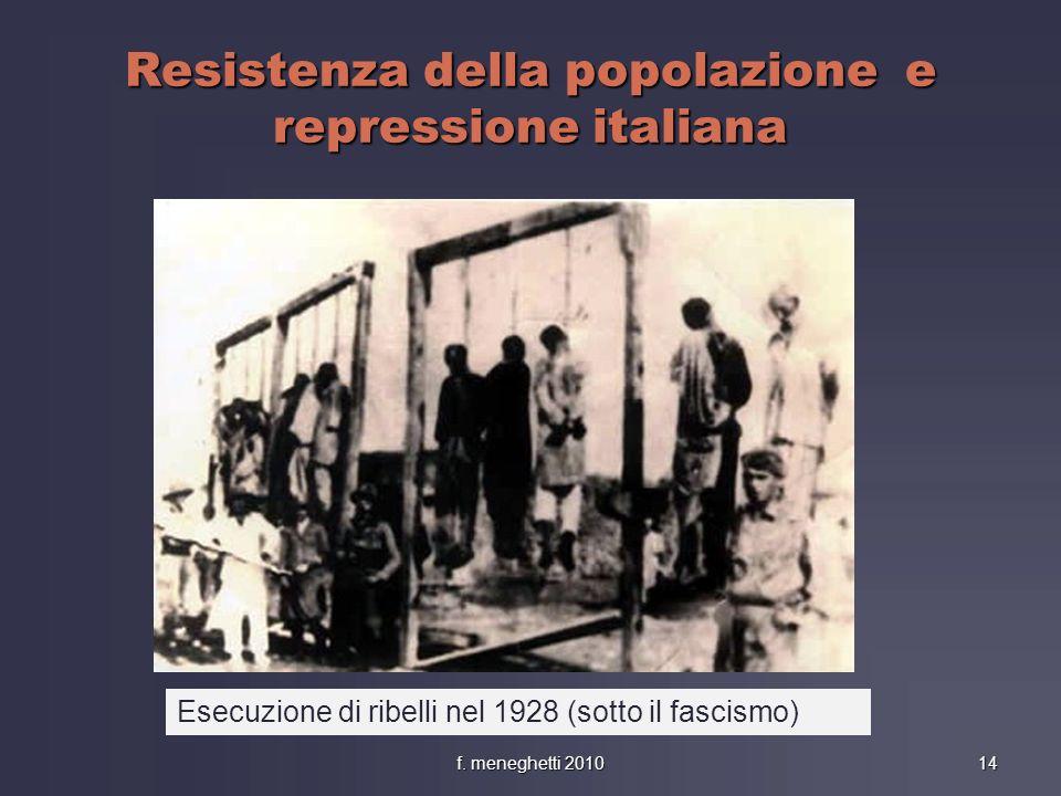 Resistenza della popolazione e repressione italiana