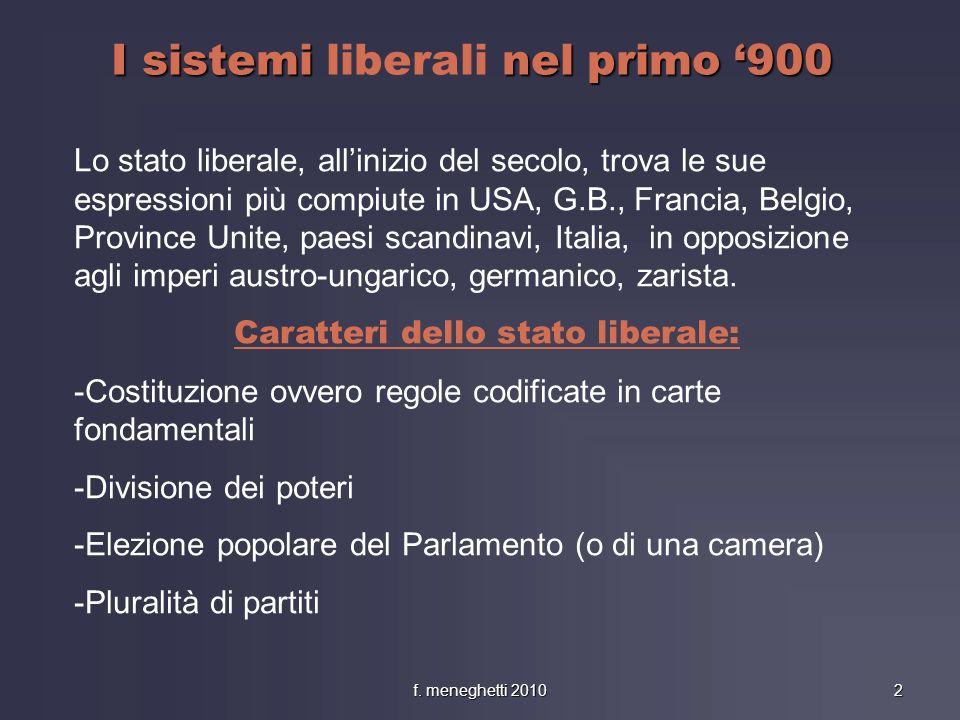 I sistemi liberali nel primo '900