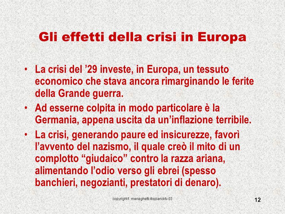 Gli effetti della crisi in Europa