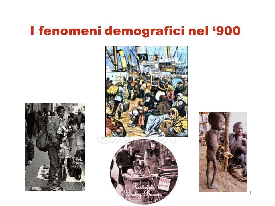 I fenomeni demografici nel '900