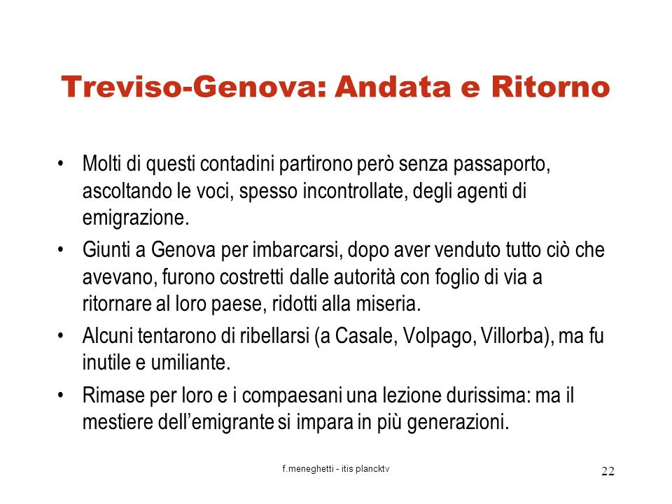 Treviso-Genova: Andata e Ritorno