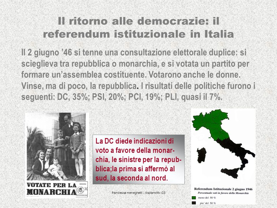 Il ritorno alle democrazie: il referendum istituzionale in Italia