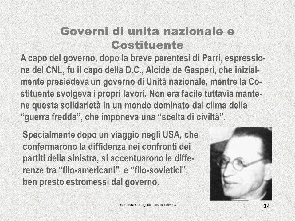 Governi di unita nazionale e Costituente