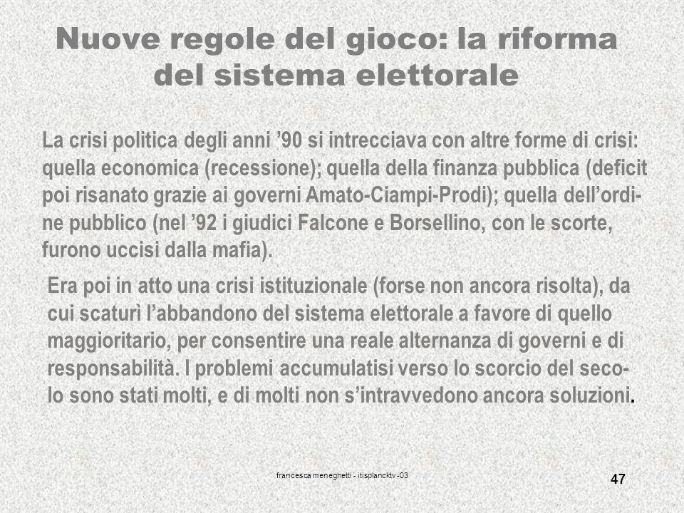 Nuove regole del gioco: la riforma del sistema elettorale
