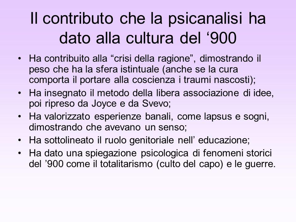 Il contributo che la psicanalisi ha dato alla cultura del '900