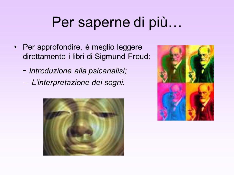 Per saperne di più… - Introduzione alla psicanalisi;