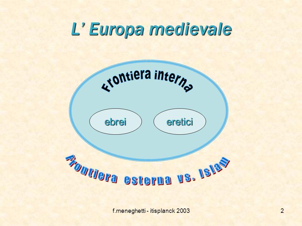 L' Europa medievale ebrei eretici Frontiera esterna vs. Islam