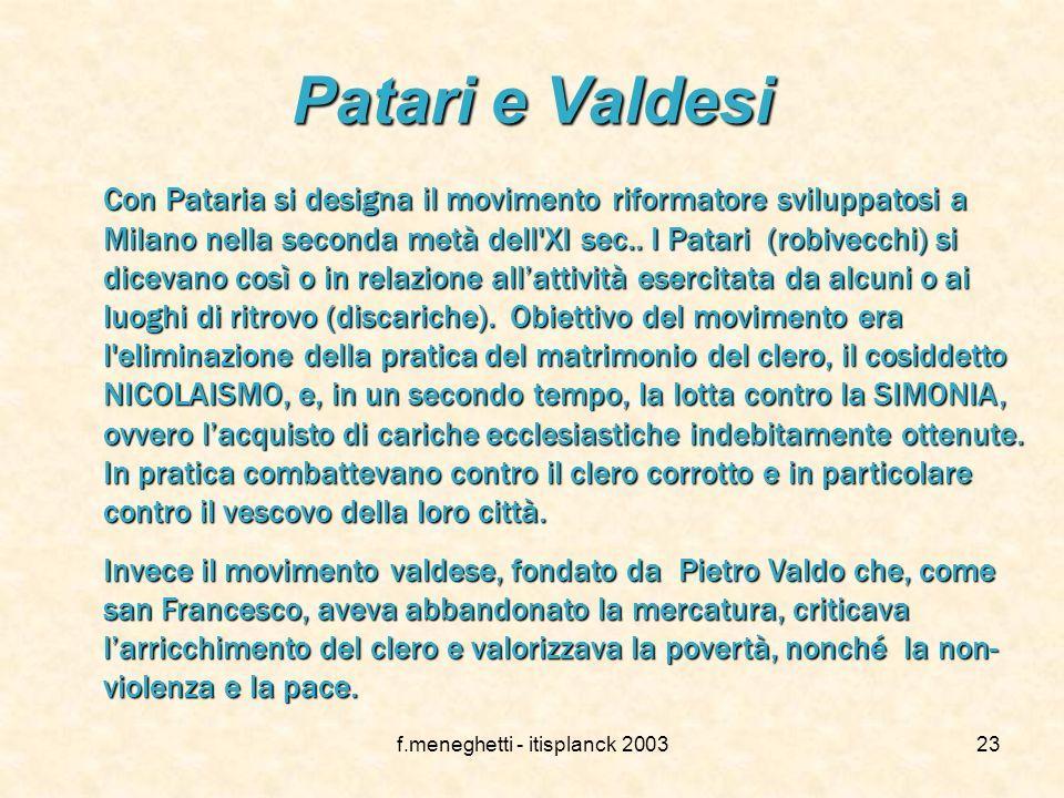 f.meneghetti - itisplanck 2003