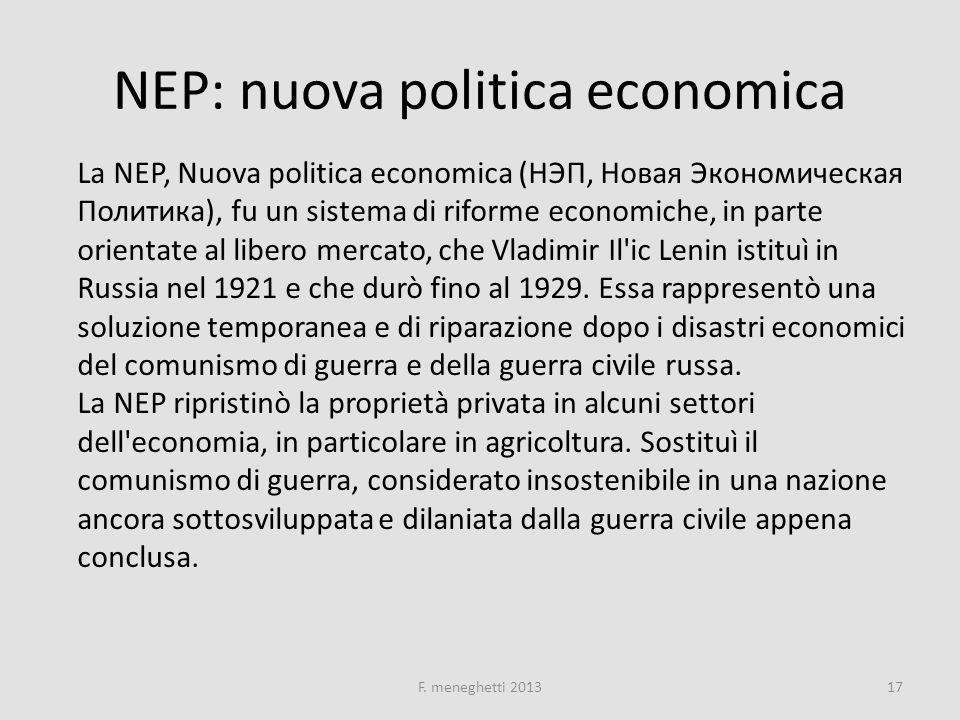 NEP: nuova politica economica