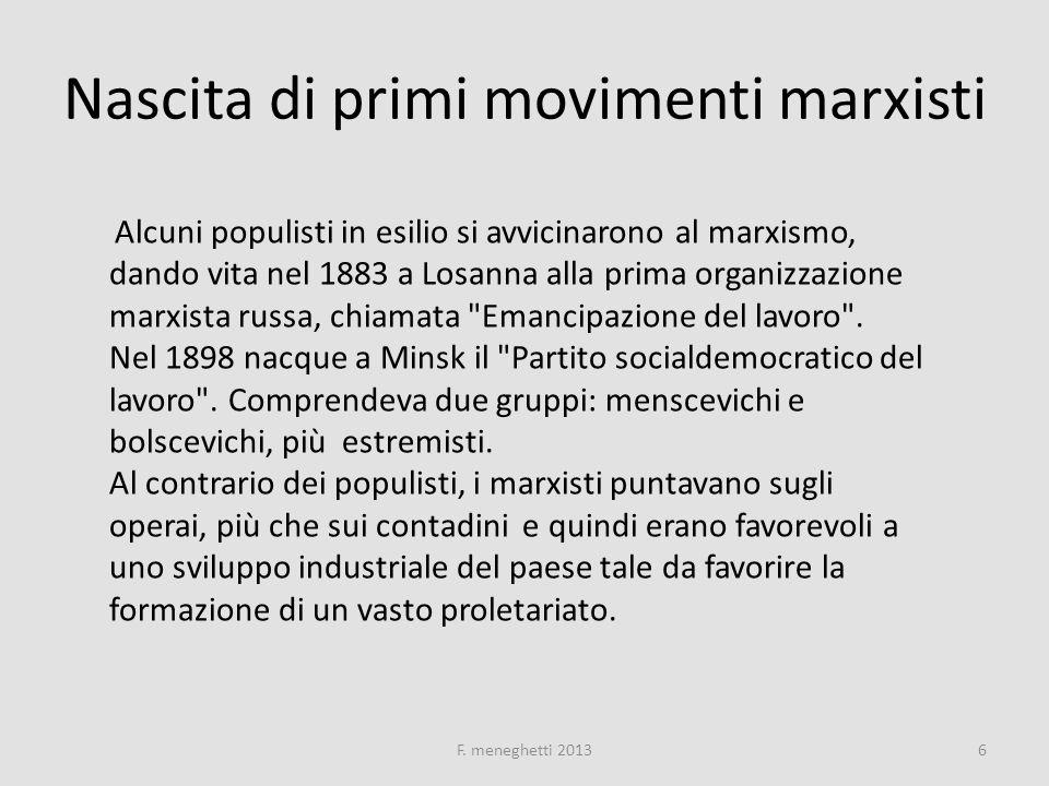 Nascita di primi movimenti marxisti