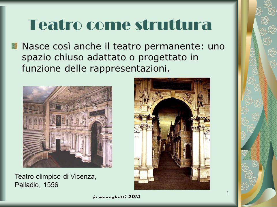 Teatro come struttura Nasce così anche il teatro permanente: uno spazio chiuso adattato o progettato in funzione delle rappresentazioni.