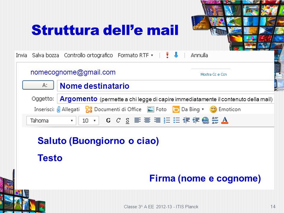 Struttura dell'e mail Saluto (Buongiorno o ciao) Testo