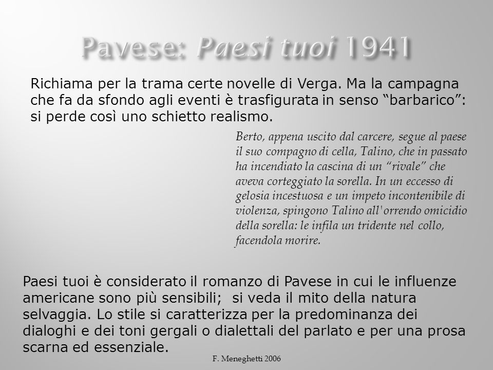 Pavese: Paesi tuoi 1941