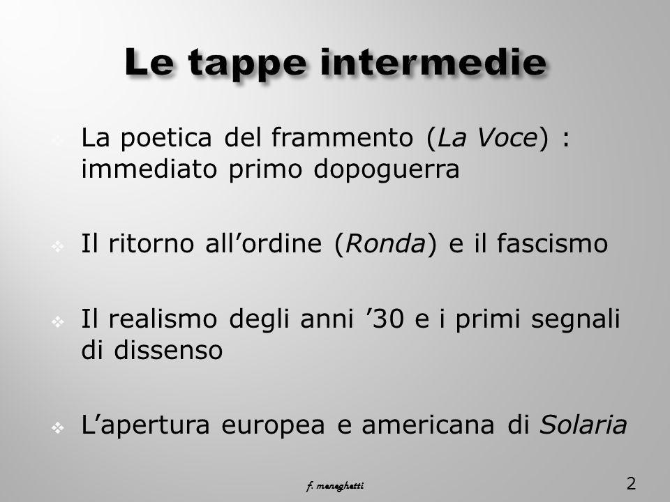 Le tappe intermedie La poetica del frammento (La Voce) : immediato primo dopoguerra. Il ritorno all'ordine (Ronda) e il fascismo.