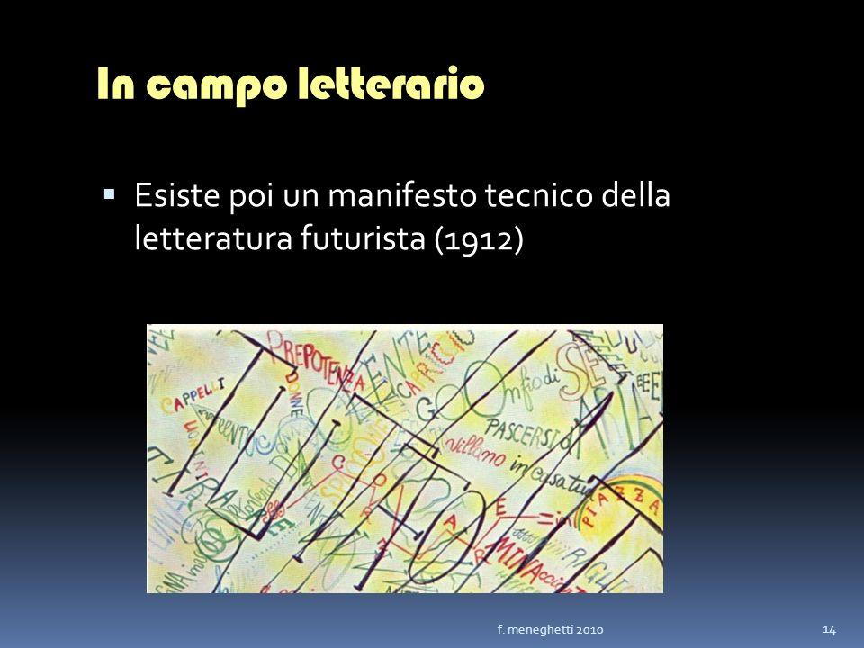 In campo letterarioEsiste poi un manifesto tecnico della letteratura futurista (1912) f.