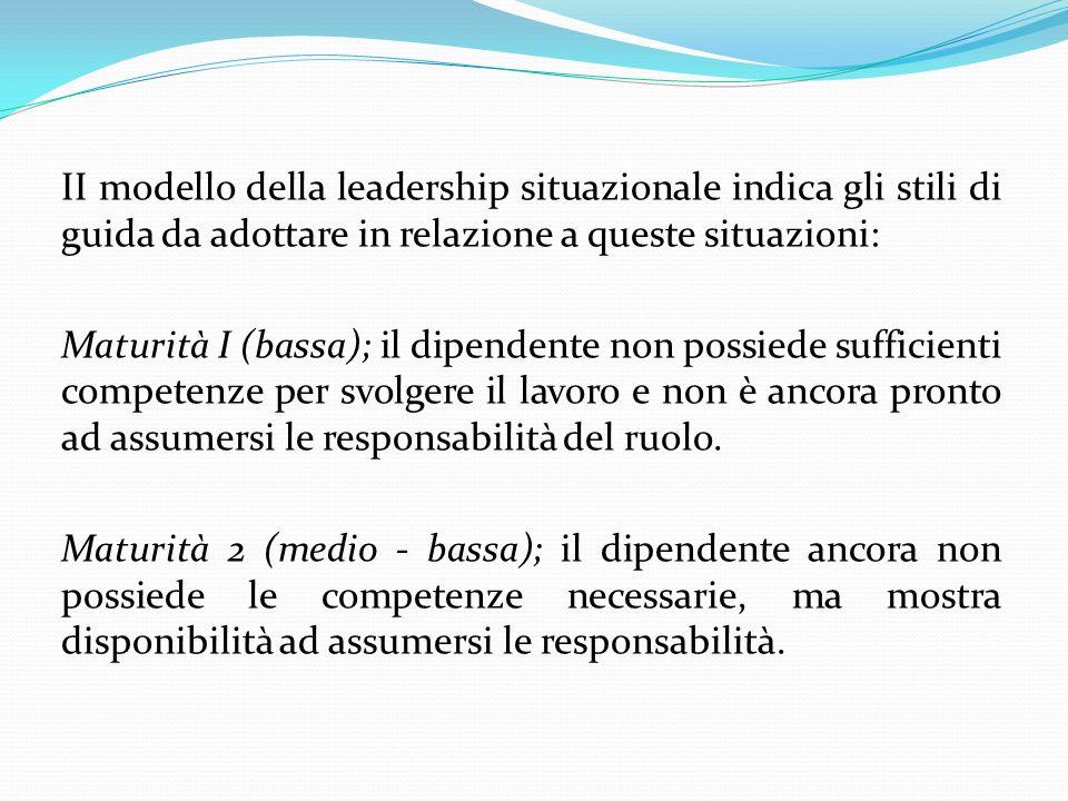 II modello della leadership situazionale indica gli stili di guida da adottare in relazione a queste situazioni: Maturità I (bassa); il dipendente non possiede sufficienti competenze per svolgere il lavoro e non è ancora pronto ad assumersi le responsabilità del ruolo.