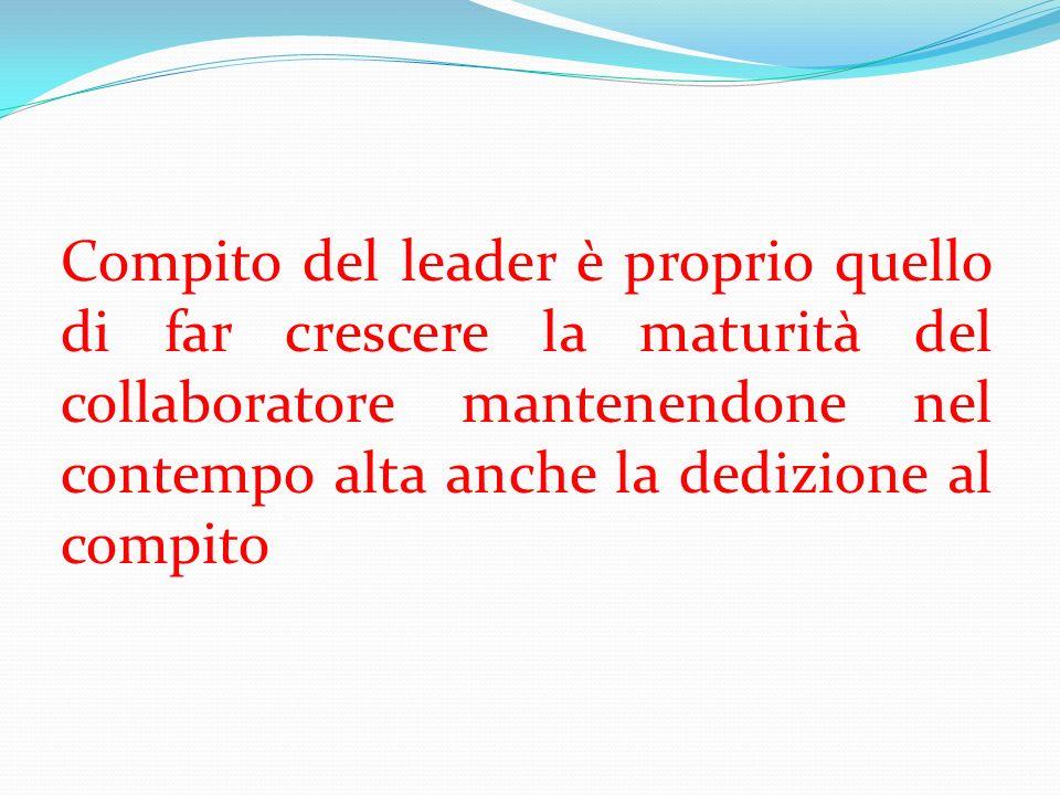 Compito del leader è proprio quello di far crescere la maturità del collaboratore mantenendone nel contempo alta anche la dedizione al compito