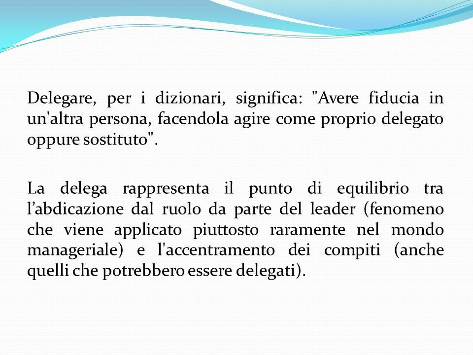 Delegare, per i dizionari, significa: Avere fiducia in un altra persona, facendola agire come proprio delegato oppure sostituto .
