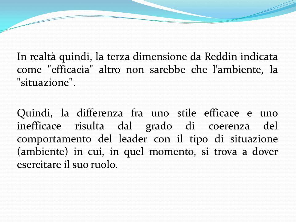 In realtà quindi, la terza dimensione da Reddin indicata come efficacia altro non sarebbe che l ambiente, la situazione .