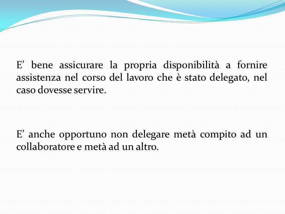 E' bene assicurare la propria disponibilità a fornire assistenza nel corso del lavoro che è stato delegato, nel caso dovesse servire.