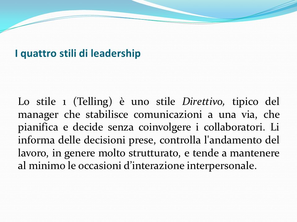 I quattro stili di leadership