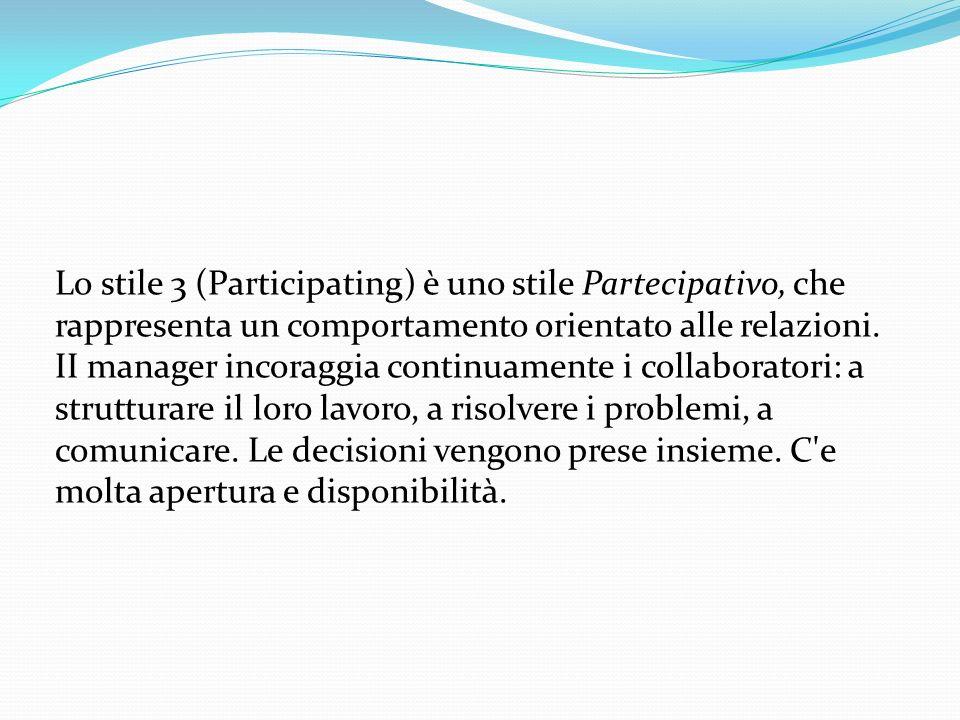 Lo stile 3 (Participating) è uno stile Partecipativo, che rappresenta un comportamento orientato alle relazioni.