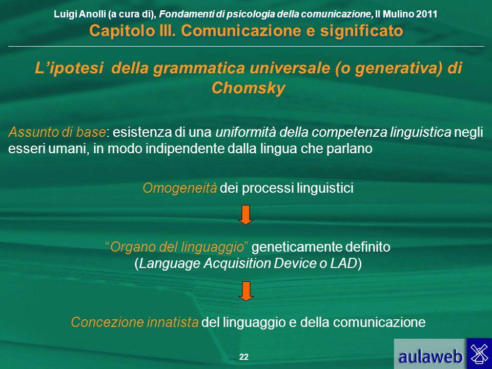 L'ipotesi della grammatica universale (o generativa) di Chomsky