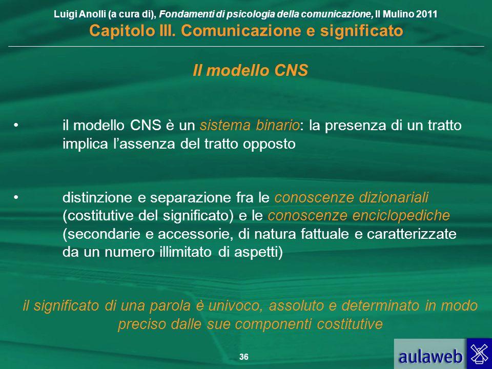 Il modello CNS il modello CNS è un sistema binario: la presenza di un tratto implica l'assenza del tratto opposto.