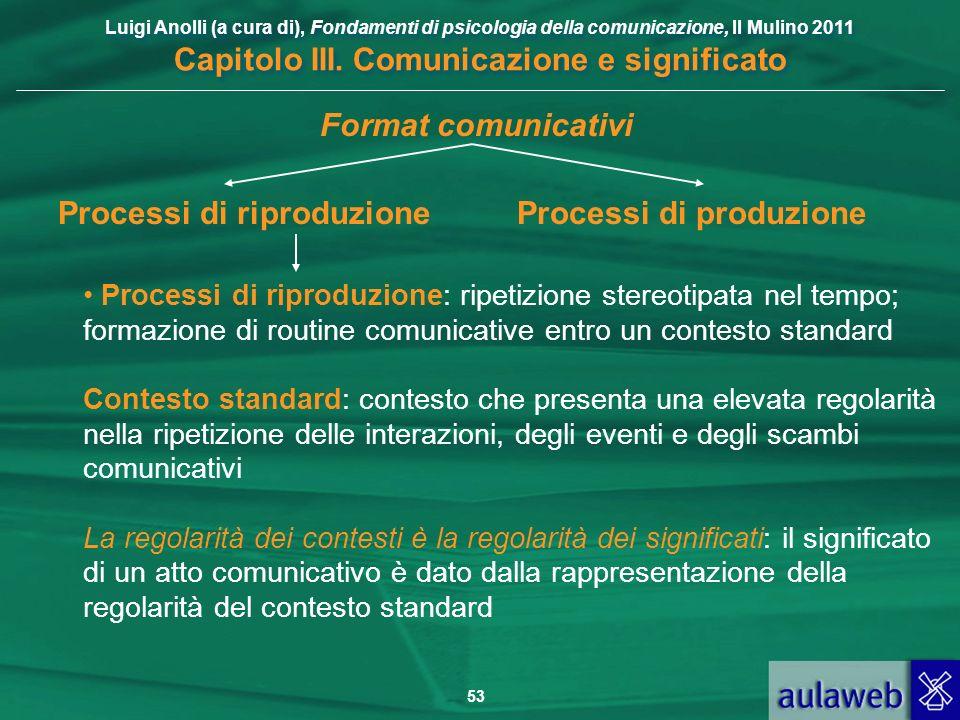 Processi di riproduzione Processi di produzione
