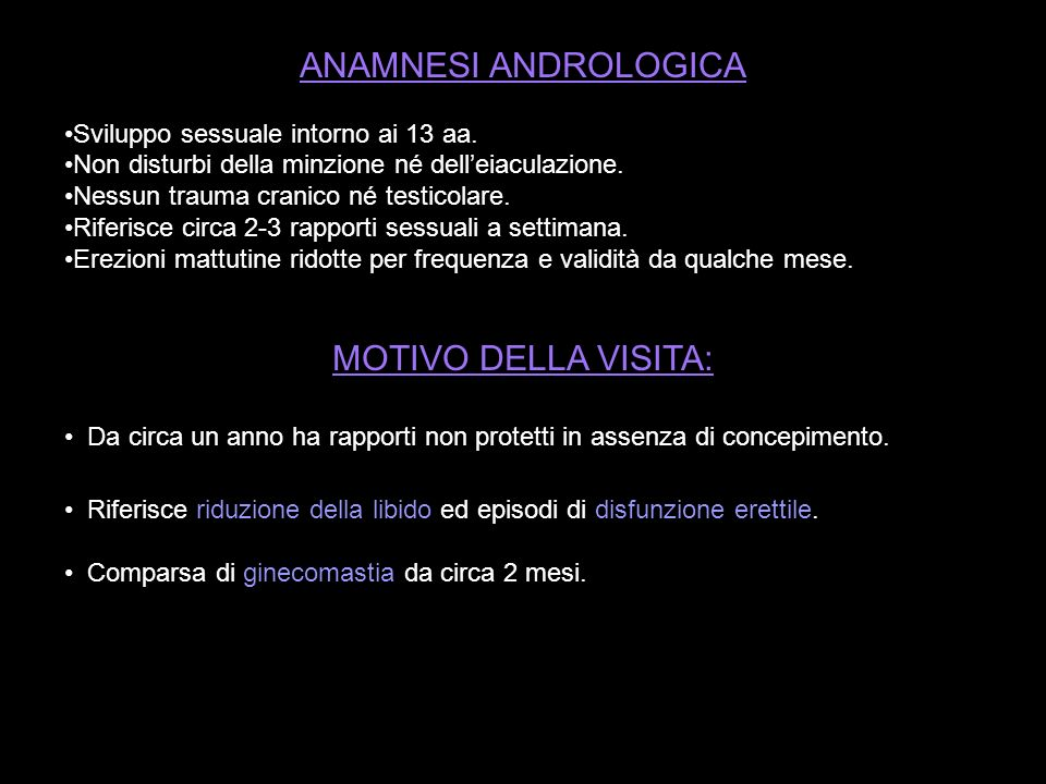 ANAMNESI ANDROLOGICA MOTIVO DELLA VISITA: