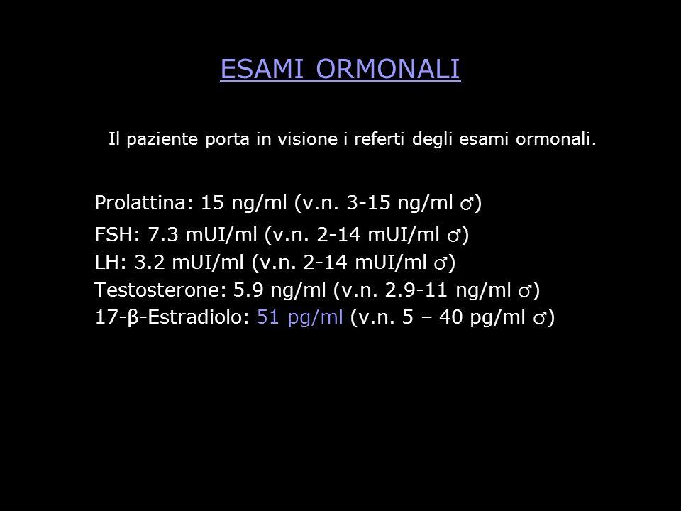 Il paziente porta in visione i referti degli esami ormonali.