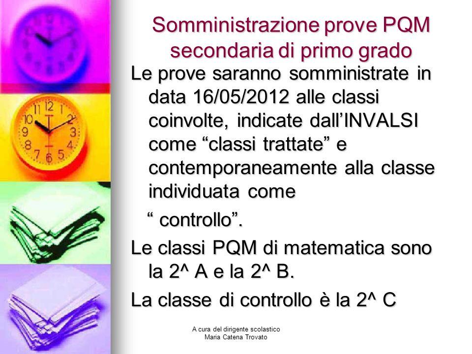 Somministrazione prove PQM secondaria di primo grado