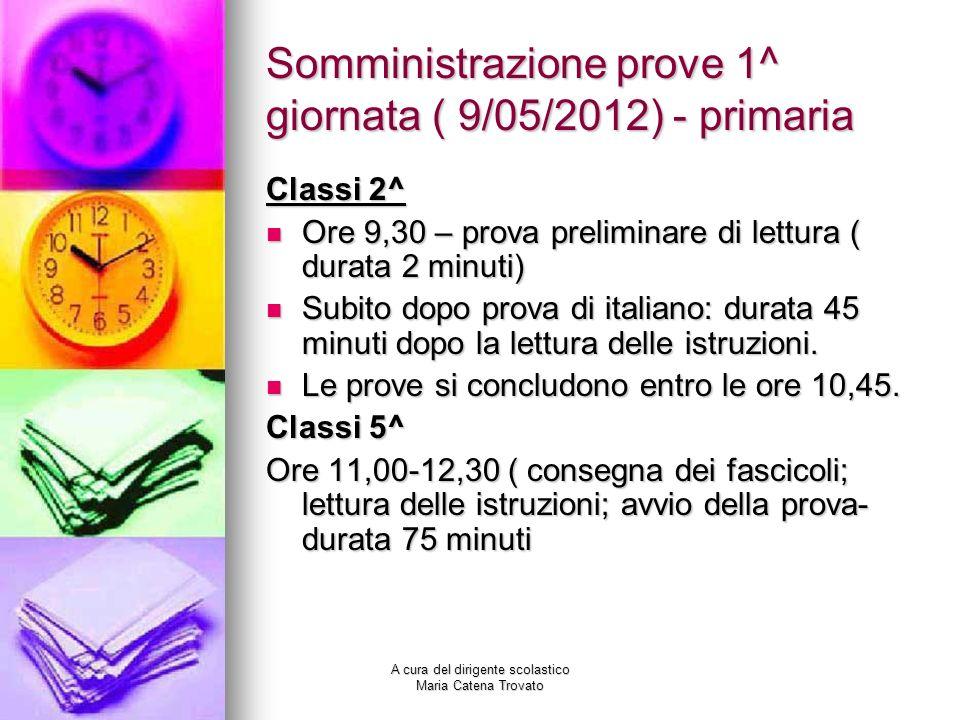 Somministrazione prove 1^ giornata ( 9/05/2012) - primaria