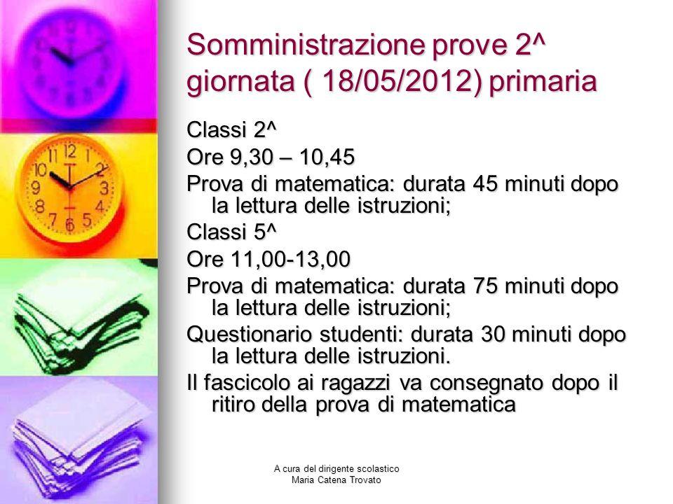 Somministrazione prove 2^ giornata ( 18/05/2012) primaria